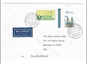 1993: Köln Flughafen als Luftpost nach Monterey CA, USA