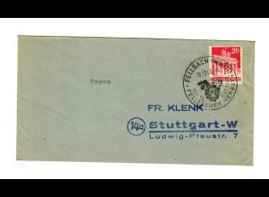 1948 Brief von Fellbach, Sonderstempel Fellbacher Herbst/Wein nach Stuttgart