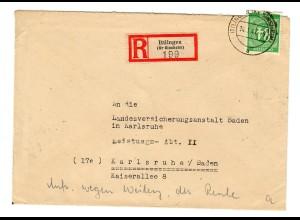 Einschreiben Ittlingen 1947 nach Karlsruhe