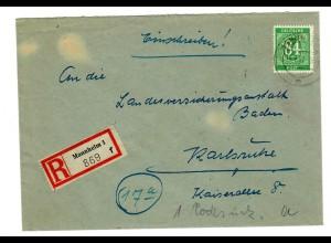 Einschreiben Mannheim 1, 1947 nach Karlsruhe