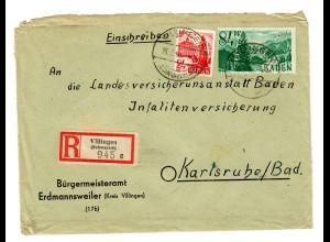Einschreiben aus Villingen/Schwarzwald, Erdmannsweiler, 1948 nach Karlsruhe