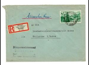 Einschreiben aus Bötzingen/Freiburg 1947 nach Karlsruhe