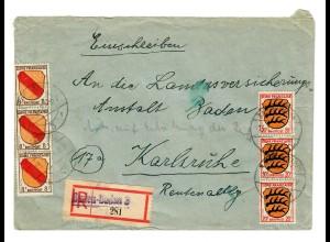 Einschreiben aus Baden Baden 1947 nach Karlsruhe