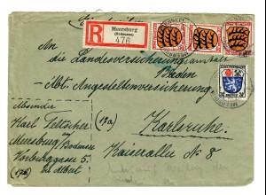 Einschreiben aus Meersburg/Bodensee 1947 nach Karlsruhe