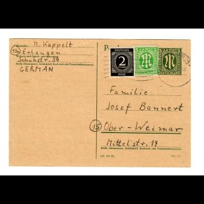 Ganzsache aus Erlangen 1946 nach Ober-Weimar