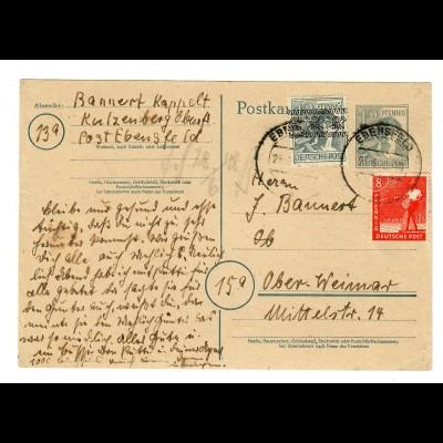 Ganzsache Ebensfeld nach Weimar 1948