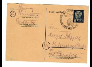 Erfurt Ganzsache 1950 Gartenschau nach Kutzenberg