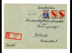 Einschreiben Oberkirch 1947 nach Karlsruhe