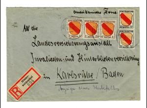 Einschreiben Hinterweidenthal 1947 nach Karlsruhe