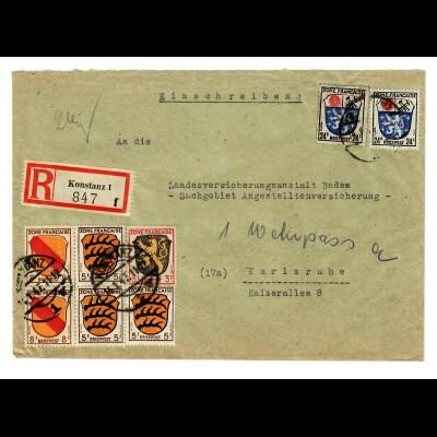 Einschreiben Konstanz 1947 nach Karlsruhe