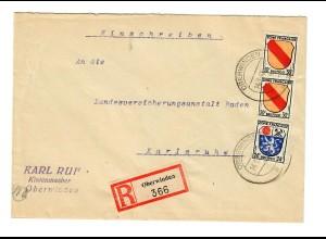 Einschreiben Oberwinden 1947 nach Karlsruhe