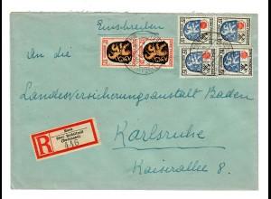 Einschreiben Horn über Radolfzell 1947 nach Karlsruhe