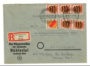 Einschreiben Oberbühlertal/Baden 1947 nach Karlsruhe