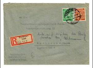 Einschreiben Wertheim 1/Land 1947 nach Karlsruhe