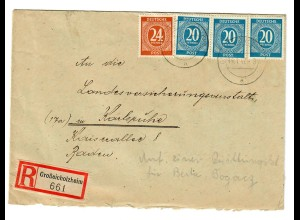 Einschreiben Großeichholzheim 1947 nach Karlsruhe