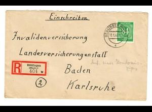 Einschreiben Böblingen 1947 nach Karlsruhe