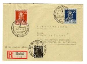 Einschreiben München 1948 Sonderstempel Presseausstellung nach Mühlenwerk/Hof