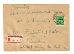 Einschreiben Weinheim/Bergstraße nach Karlsruhe
