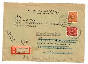 Einschreiben Immenreuth 1947 nach Oppenau, Weiterleitung Karlsruhe