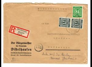 Einschreiben Distelhausen über Lauda 1947 nach Karlsruhe