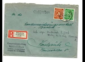 Einschreiben Billigheim Kreis Mosbach 1947 nach Karlsruhe