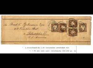 Ganzsache Streifband Drucksache 100-150gr, Landau nach Philadelphia 1896