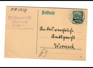Ganzsache Machtilshausen Hammelburg, 1921 nach Werneck