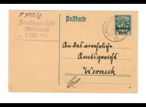Ganzsache Hammelburg, 1920 nach Werneck