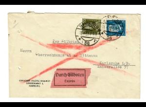 Eilboten Brief Hamburg, Gänsemarkt, 1929 nach Karlsruhe