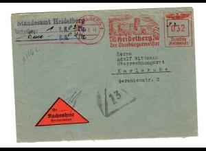 Nachnahme Brief Standesamt Heidelberg 1943 nach Karlsruhe