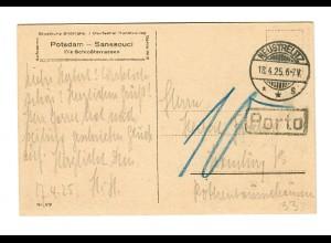 Ansichtskarte Sanssouci, 1925 Neustrelitz nach Hamburg, Nachporto