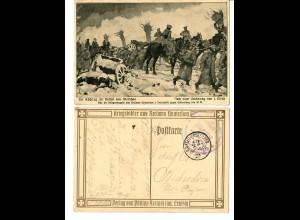 2x AK Kriegsbilder: Rückzug der Russen, Reitergefecht bei Albert, 1915