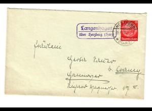 Brief mit Agenturstempel Langenhagen über Herzberg/Harz 1936 nach Hannover