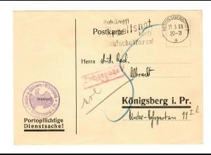 portopflichtige Dienstsache mit Nachporto von Königsberg, Bibliothek 1933