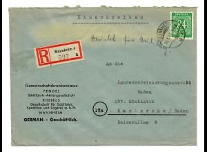 Einschreiben Mannheim 1947, Schifffahrts-AG RHENUS, FENDEL nach Karlsruhe