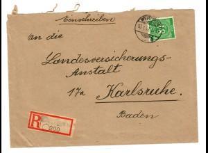 Einschreiben Wertheim 1947 nach Karlsruhe
