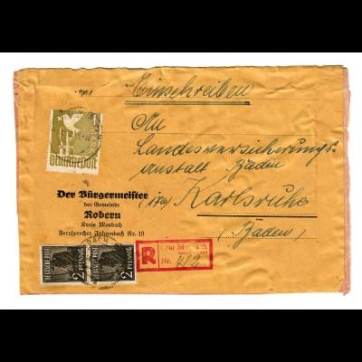 Einschreiben Robern, Marbach Baden-Land 1947 nach Karlsruhe, Päckchen