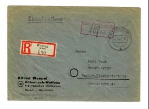 Einschreiben Wolfegg, Röthenbach 1947 nach Berlin, Gebühr bezahlt