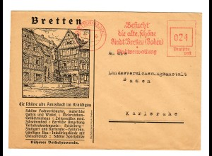 Postkarte Bretten/Baden nach Karlsruhe 1946