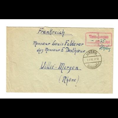 Lindau 1946 nach Villié-Morgon/France, Gebühr bezahlt