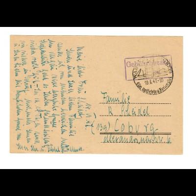 1947 Wangen/Allgäu, Gebühr bezahlt nach Coburg