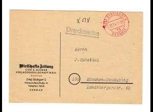 1947 Stuttgart, Drucksache Karte nach München, Gebühr bezahlt