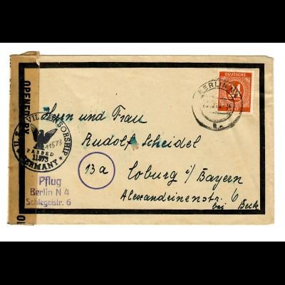 Brief 1948 von Berlin nach Coburg, Zensur: Civil Censorship, passed