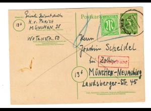 Ganszache München Neuabing 1946, Nachgebühr,, Marken ungültig