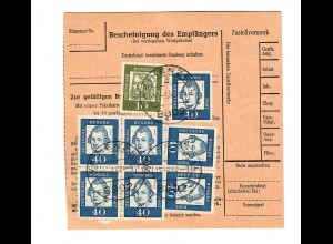 Paketkarte Weihenzell/Ansbach nach Karl-Marx-Stadt 1964