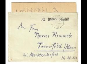 Brief 1945 Thüringersheim/Himmelstadt nach Trennfeld, Gebühr bezahlt