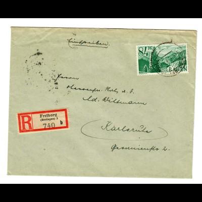 1948 Einschreiben Freiburg nach Karlsruhe