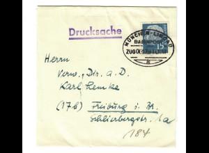Streifband Lindau-Schachen Drucksache 1957, Bahnpost München-Lindau