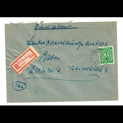 Einschreiben Waibstadt 1947 nach Karlsruhe