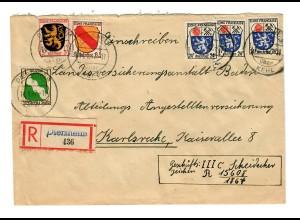Einschreiben Diersheim nach Karlsruhe 1947